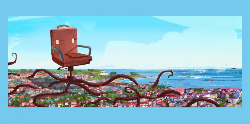 Ilustración © Eva Vázquez. Una silla de oficina. Su respaldo es un maletín de trabajo. Las patas de la silla son tentáculos que se extienden sobre una ciudad.