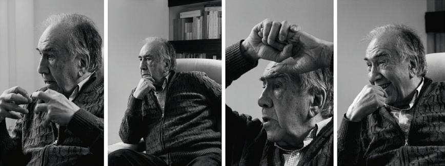 Diversos retrats de Joan Margarit mentre parla © Camilla de Maffei
