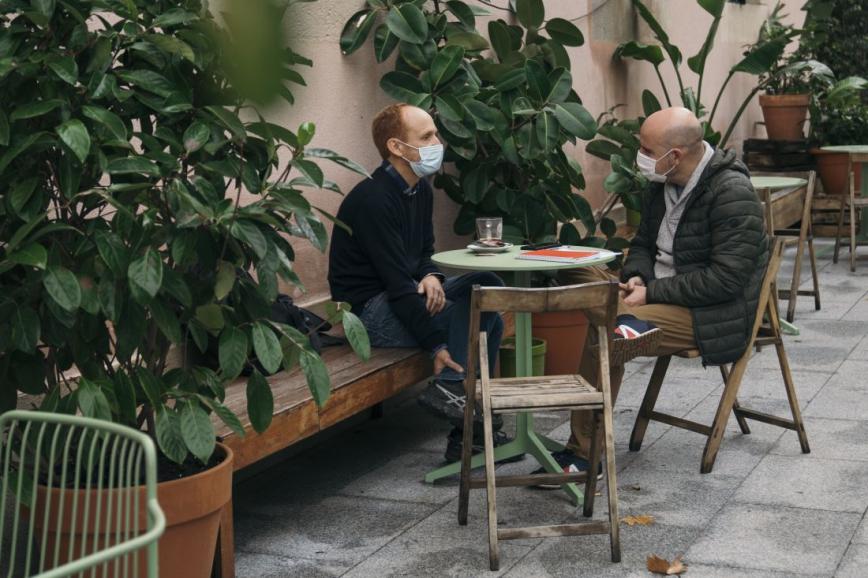 Daniel Gamper i David Miró durant l'entrevista.© Clara Soler Chopo