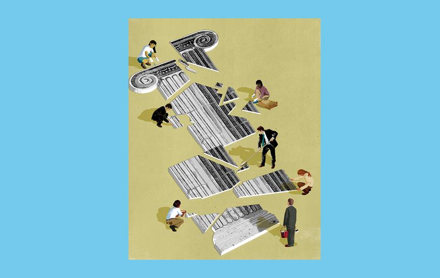 Ilustración © Eva Vázquez. Una columna de estilo griego pintada en el suelo en piezas como un puzzle. Diferentes personas arreglan y juntan las piezas.