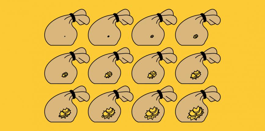Il·lustració amb bosses que contenen monedes