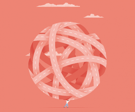 Il·lustració © Ana Yael Zareceansky. Un home diminut que carrega sobre les seves espatlles una bola molt gran formada per una xarxa de carreteres embolicades.