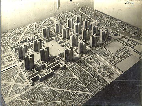 Le Corbusier's technocratic vision of equally spaced towers that benefit from daylight and fresh air, clear zoning of functions and the separation of cars and pedestrians, has had a pervasive impact on the language and form of late twentieth.