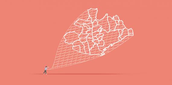 Il·lustració © Ana Yael Zareceansky. Una persona llança una xarxa de pescar. La xarxa és un mapa de ciutats.