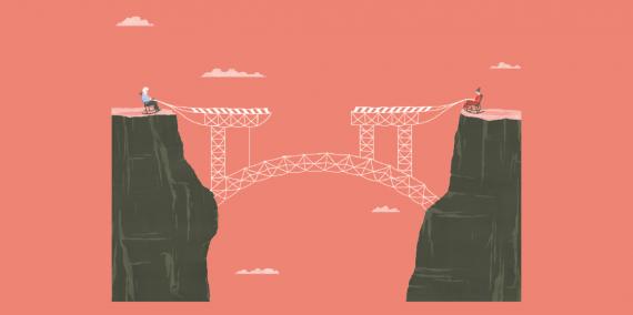 Il·lustració © Ana Yael Zareceansky. Dues persones es troben assegudes en uns balancins, cadascuna sobre un precipici. Entre les dues persones es veu un pont que aquestes dues persones estan teixint.