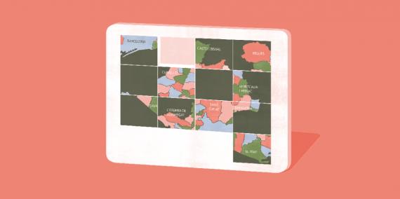 Il·lustració © Ana Yael Zareceansky. Un joc de puzzle de peces quadrades desendreçades. El puzzle és un mapa de l'àrea metropolitana de Barcelona amb els noms d'algunes de les poblacions.