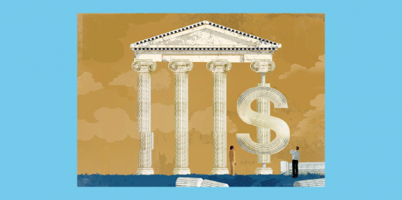 Illustration © Eva Vázquez. A number of people contemplate a temple with Greek columns. The column on the right is shaped like a dollar symbol.