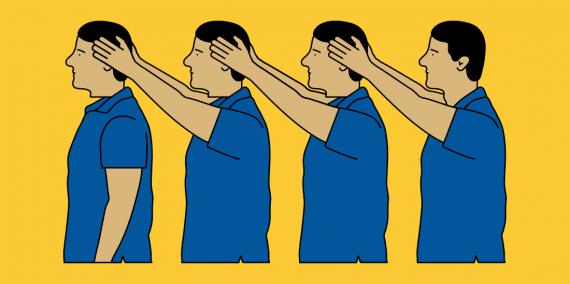 Il·lustració d'una fila de persones agafant cada una amb les mans el cap de qui té davant
