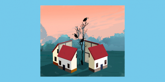 Illustration © Eva Vázquez. A house split into four as if it were a cake and, in the middle, grows a tree full of vultures.