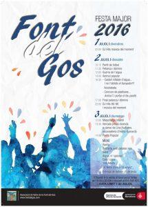 Cartell de les festes de la Font del Gos, un nucli del districte d'Horta Guinardó que no és reconegut oficialment com a barri.