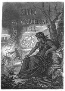 Portada de «Historia del memorable sitio y bloqueo de Barcelona» del Carlí Mateu Bruguera (1871)