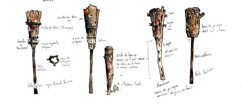 Dibuix del quadern de camp on s'il·lustren Falles de Durro contemporànies, molt semblants a la recol·lectada per Violant Simorra i que es pot veure a l'Etnològic.
