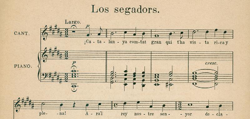 Partitura de la versió dels Segadors musicada per Francesc Alió.