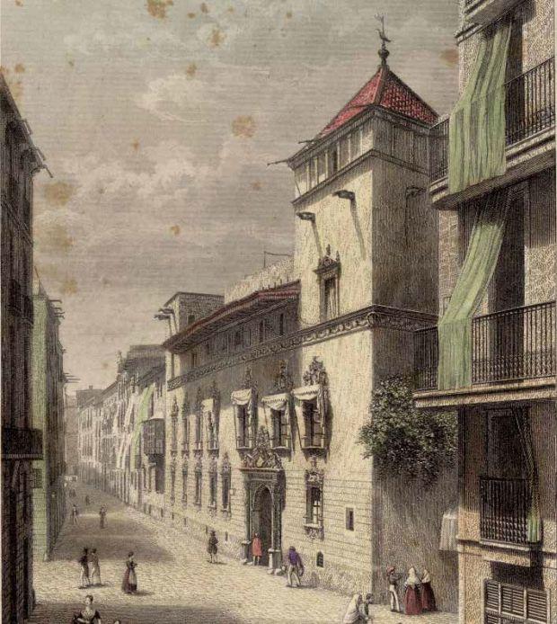 Fachada casa Gralla. Grabado, Adolph Rouargue, 1857, AHCB