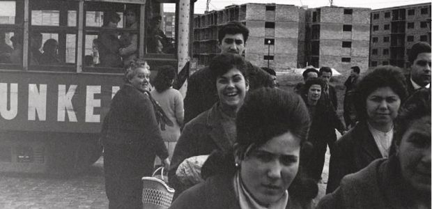 Tram in an outlying neighbourhood. Barcelona, 1962. Xavier Miserachs. © Heirs of Xavier Miserachs.