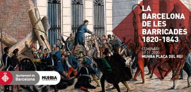 Anònim, Revolucionaris repartint els fusells i construint una barricada a l'accés a la plaça de Sant Jaume, novembre de 1842. AHCB
