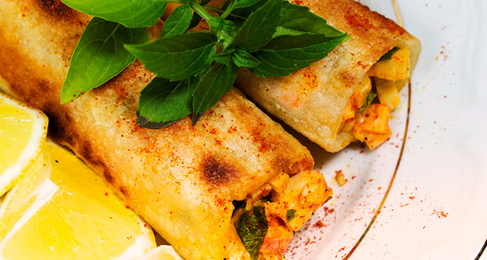 Courgette and prawn cannelloni