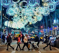 Street with Christmas lights