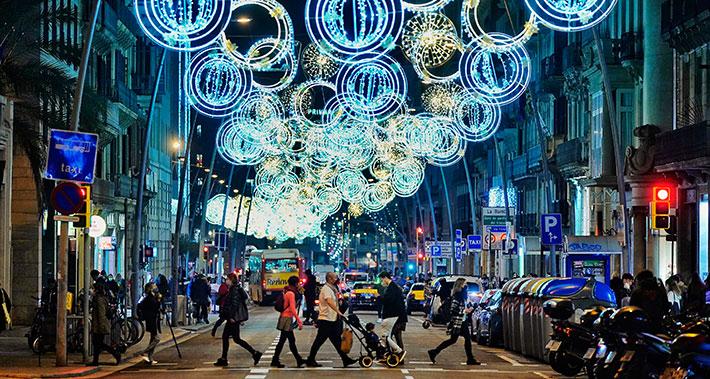 Street with Christmas lighting