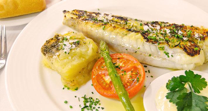 Salted monkfish with fresh pasta and orange sauce