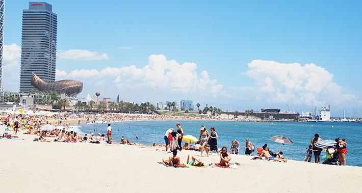Panoramic view of the Barcelona coastline