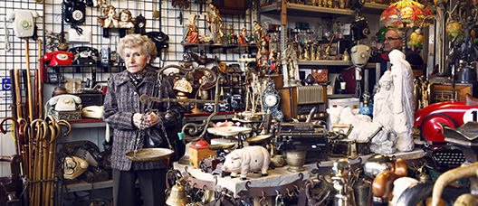 Woman in an antique shop