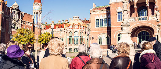 Group of retired people visiting the Sant Pau Art Nouveau Site