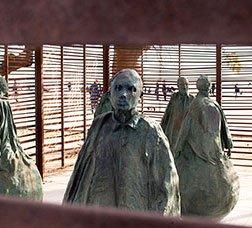 Iron sculpture at Barcelona beach