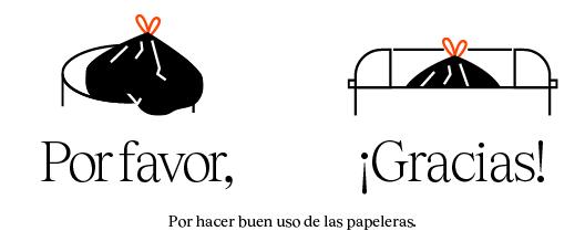 Cartel con el texto: Porhacer buen uso de las papeleras, Por favor Gracias!