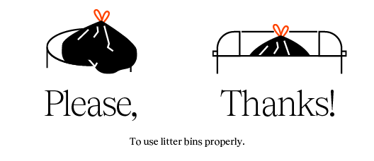 Poster with the text: Make good use of the bins Please Thank you!
