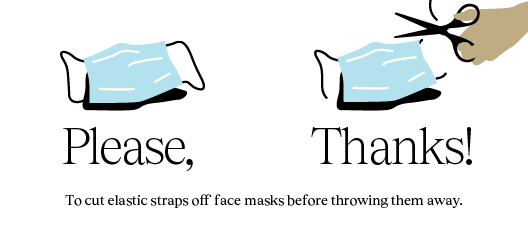 Poster with the text: Cut the erasers of the mask before throwing it. Please Thank you!