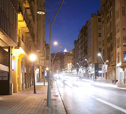 A street-lit road in Barcelona