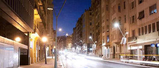A street-lit road in Barcelona
