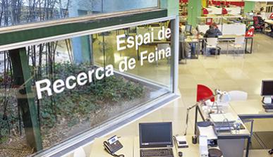 Panoràmica de l'espai de recerca de feina de Barcelona Activa