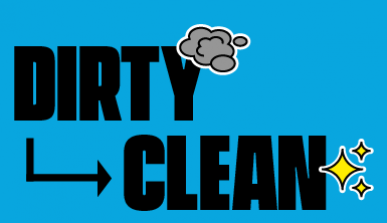 Banner with the text: Dirty - clean
