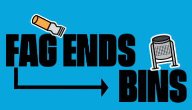 Banner with the text: Fag ends - bins