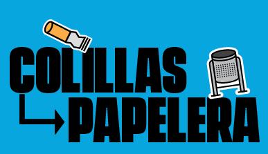 Cartel con el texto 'Colillas - papelera'
