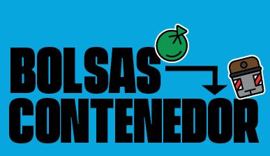 Cartel con el texto 'Bolsas - contenedor'