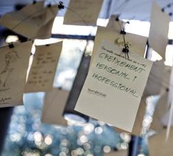 """Móvil colgado del techo con papeles escritos a mano con ideas sobre la economía social y solidaria. En uno se lee: """"Crecimiento personal y profesional"""""""