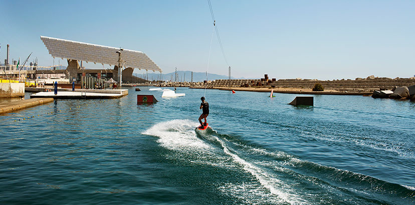 Water sports in the designated area of the Parc del Forum