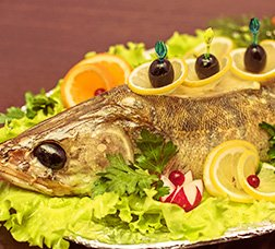 Oven-baked sea bass