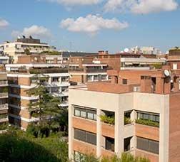 Panoramic view of several blocks of flats