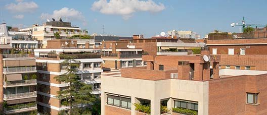 Panoramic view of several blocks of flats