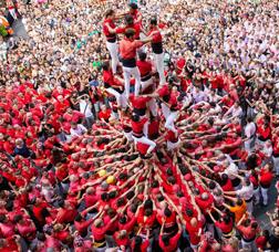 Castellers de Barcelona perfoming at plaça Sant Jaume