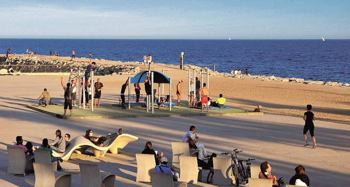 Sports and relax area by the sea