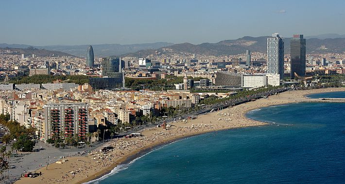 Panoramic view of the Barcelona coastline