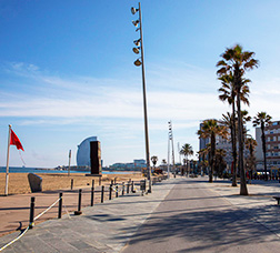 Views of an empty Passeig Marítim de Barcelona