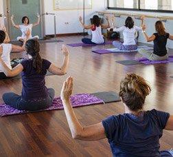 A group of women attending a Pilates class