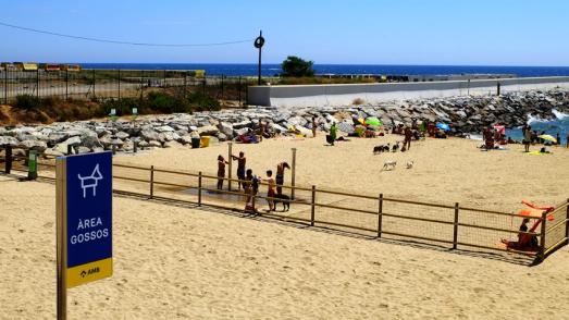 Zona de bany per a gossos a la platja de Llevant