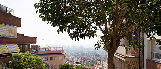 View of Barcelona with a heavily polluted sky.